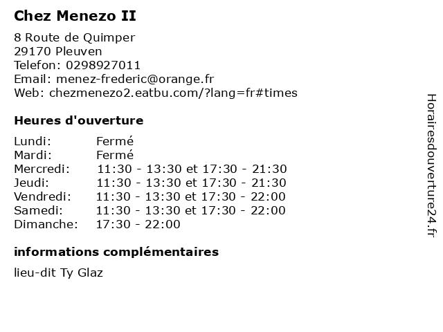 Chez Menezo II à Pleuven: adresse et heures d'ouverture