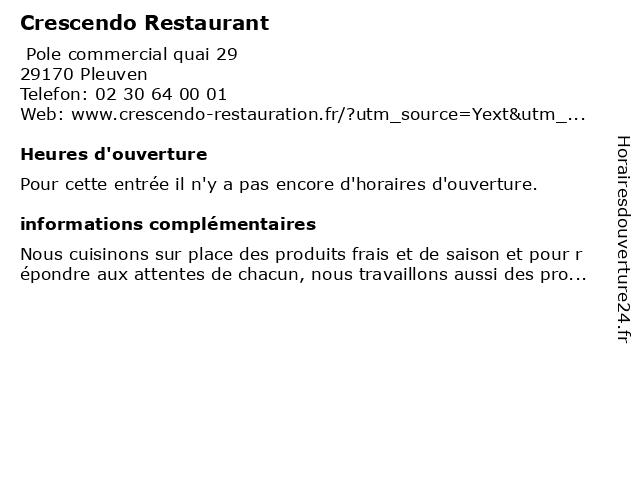 Crescendo Restaurant à Pleuven: adresse et heures d'ouverture