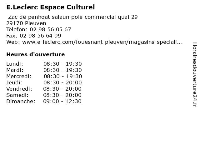 E.Leclerc Espace Culturel à Pleuven: adresse et heures d'ouverture
