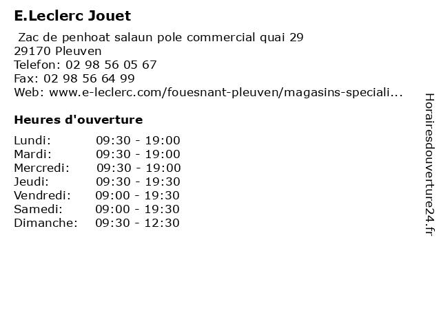E.Leclerc Jouet à Pleuven: adresse et heures d'ouverture