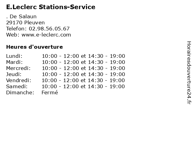 E.Leclerc Stations-Service à Pleuven: adresse et heures d'ouverture