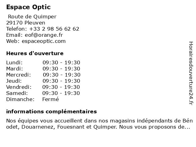 Espace Optic à Pleuven: adresse et heures d'ouverture