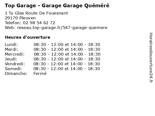 Garage Quemere à Pleuven: adresse et heures d'ouverture