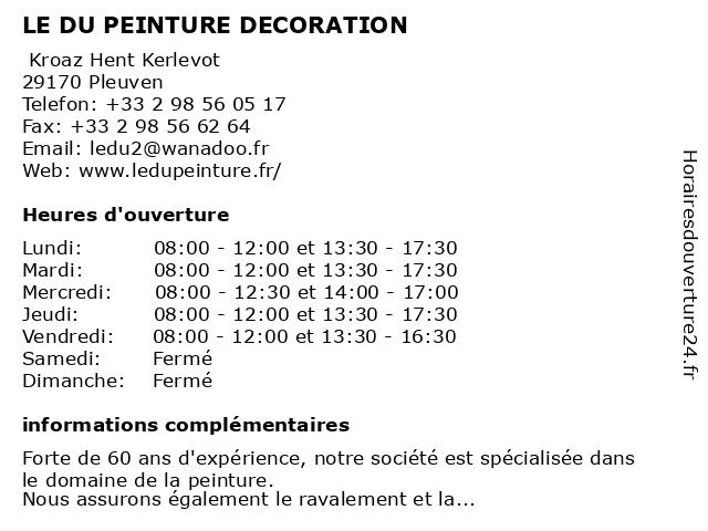 LE DU PEINTURE DECORATION à Pleuven: adresse et heures d'ouverture