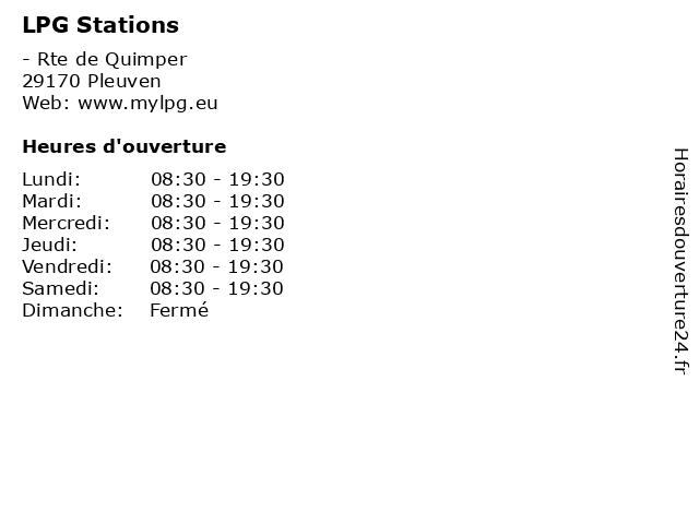 LPG Stations à Pleuven: adresse et heures d'ouverture