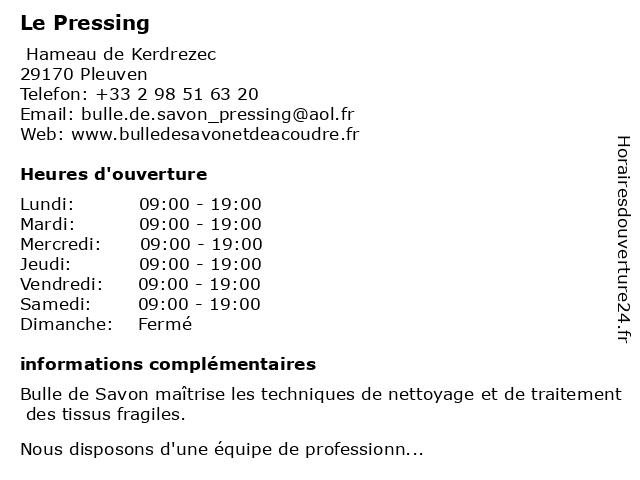 Le Pressing à Pleuven: adresse et heures d'ouverture