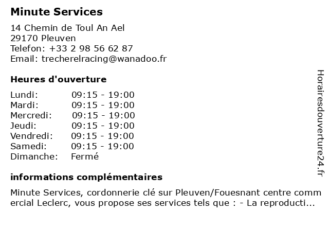 Minute Services à Pleuven: adresse et heures d'ouverture