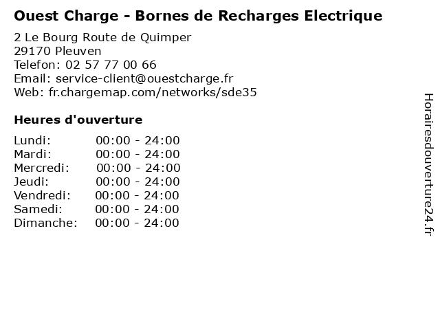 Ouest Charge - Bornes de Recharges Electrique à Pleuven: adresse et heures d'ouverture