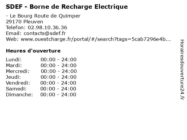 SDEF - Borne de Recharge Electrique à Pleuven: adresse et heures d'ouverture