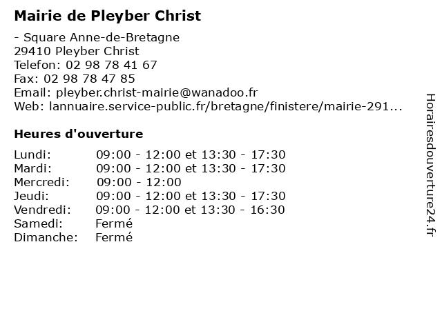 Mairie de Pleyber Christ à Pleyber Christ: adresse et heures d'ouverture