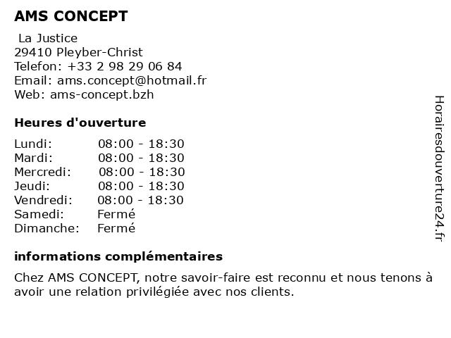 AMS CONCEPT EURL à Pleyber-Christ: adresse et heures d'ouverture