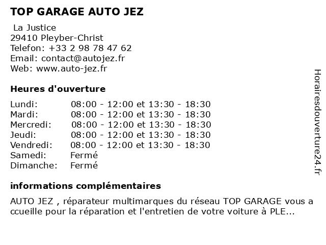 Auto Jez à Pleyber-Christ: adresse et heures d'ouverture