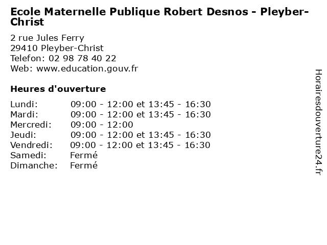 Ecole Maternelle Publique Robert Desnos - Pleyber-Christ à Pleyber-Christ: adresse et heures d'ouverture
