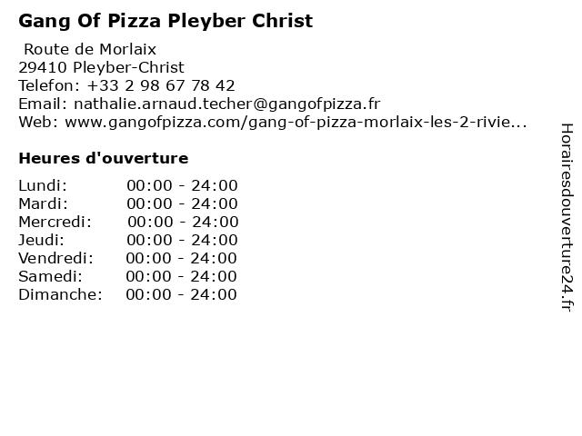Gang Of Pizza Pleyber Christ à Pleyber-Christ: adresse et heures d'ouverture