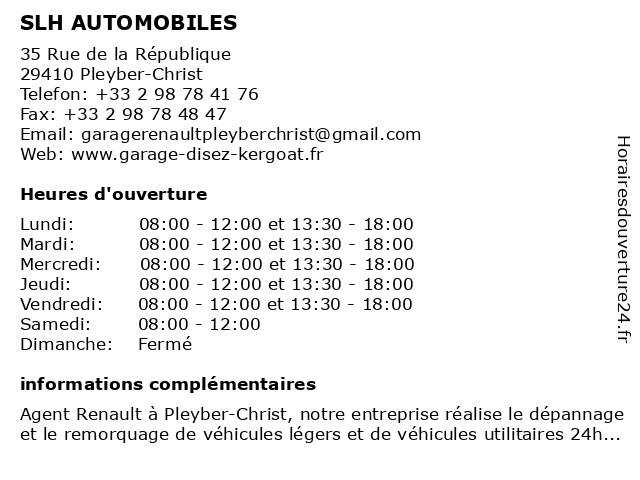 Garage Disez Kergoat à Pleyber-Christ: adresse et heures d'ouverture