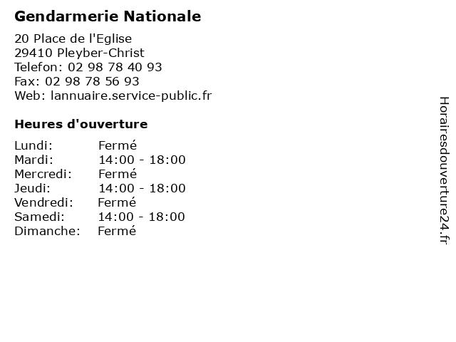 Gendarmerie Nationale à Pleyber-Christ: adresse et heures d'ouverture