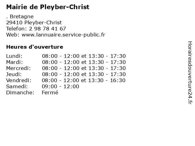 Mairie de Pleyber-Christ à Pleyber-Christ: adresse et heures d'ouverture