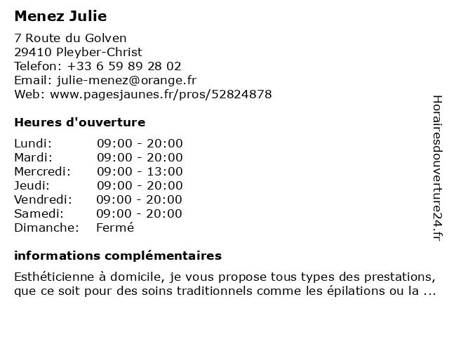 Menez Julie à Pleyber-Christ: adresse et heures d'ouverture