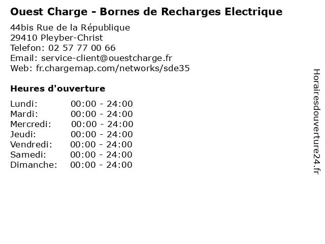 Ouest Charge - Bornes de Recharges Electrique à Pleyber-Christ: adresse et heures d'ouverture