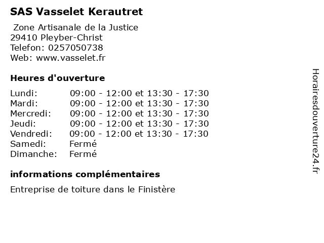 SAS Vasselet Kerautret à Pleyber-Christ: adresse et heures d'ouverture