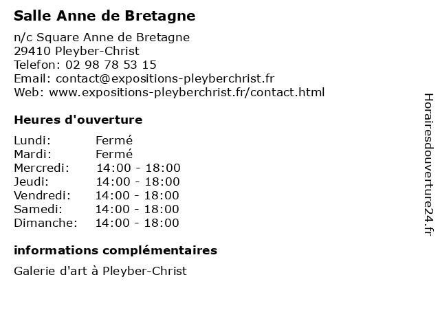 Salle Anne de Bretagne à Pleyber-Christ: adresse et heures d'ouverture