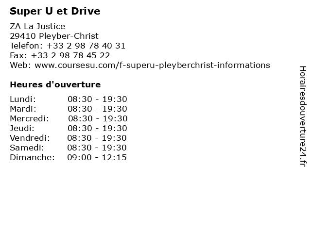 Super U et Drive à Pleyber-Christ: adresse et heures d'ouverture