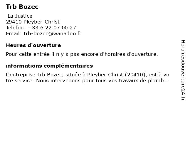 Trb Bozec à Pleyber-Christ: adresse et heures d'ouverture