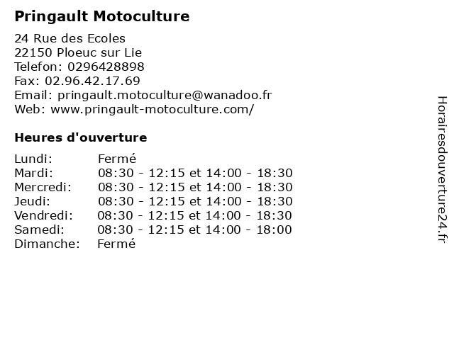 Pringault Motoculture à Ploeuc sur Lie: adresse et heures d'ouverture