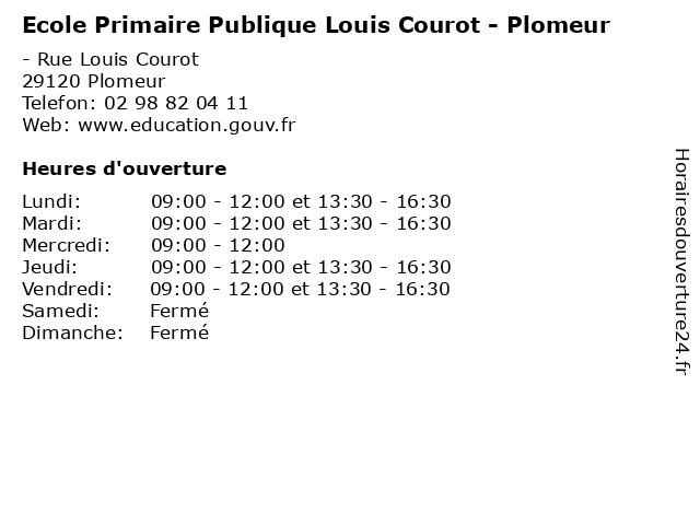 Ecole Primaire Publique Louis Courot - Plomeur à Plomeur: adresse et heures d'ouverture
