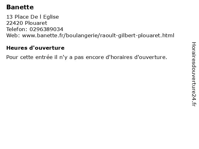 Banette à Plouaret: adresse et heures d'ouverture