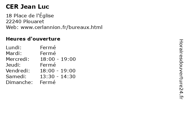 CER Jean Luc à Plouaret: adresse et heures d'ouverture
