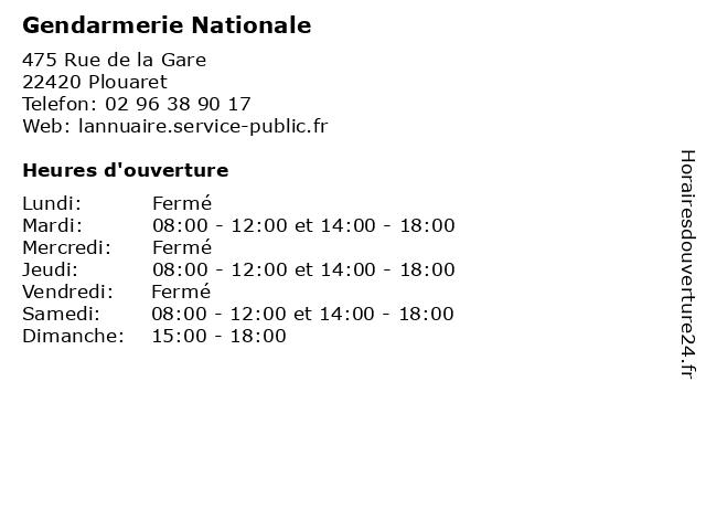 Gendarmerie Nationale à Plouaret: adresse et heures d'ouverture