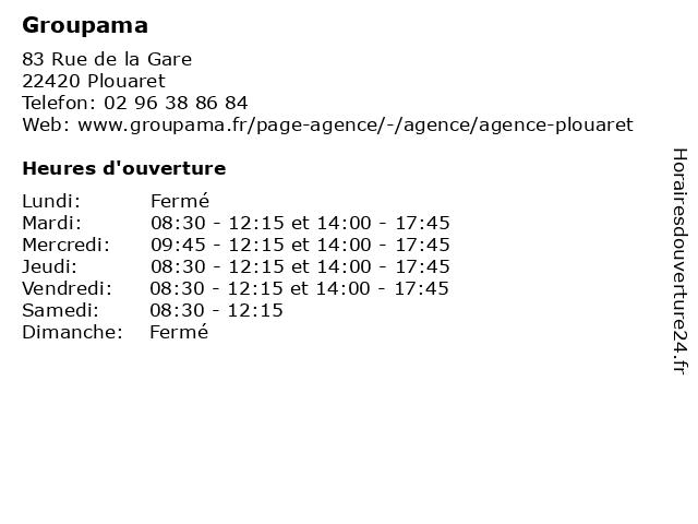 Groupama à Plouaret: adresse et heures d'ouverture
