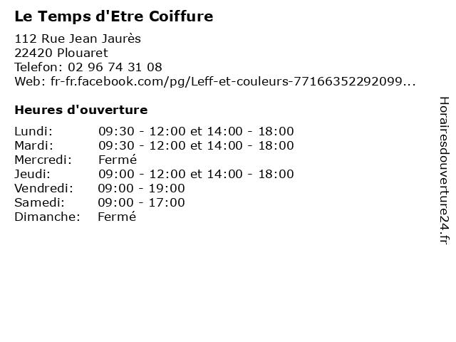 Le Temps d'Etre Coiffure à Plouaret: adresse et heures d'ouverture