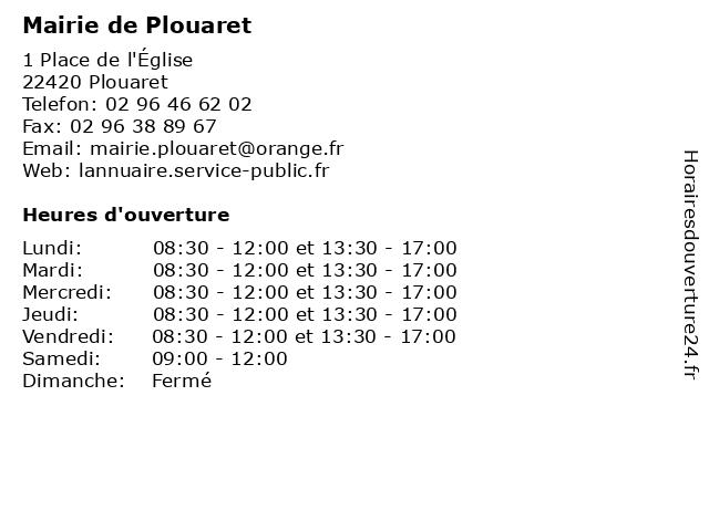 Mairie de Plouaret à Plouaret: adresse et heures d'ouverture