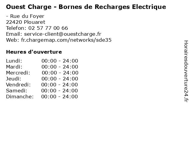 Ouest Charge - Bornes de Recharges Electrique à Plouaret: adresse et heures d'ouverture