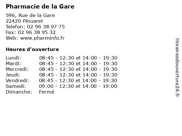 Pharmacie de la Gare à Plouaret: adresse et heures d'ouverture