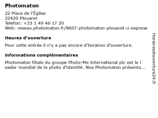 Photomaton à Plouaret: adresse et heures d'ouverture