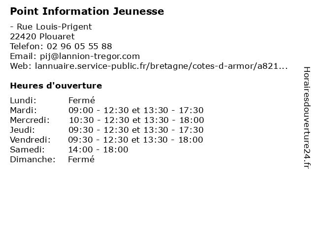 Point Information Jeunesse à Plouaret: adresse et heures d'ouverture