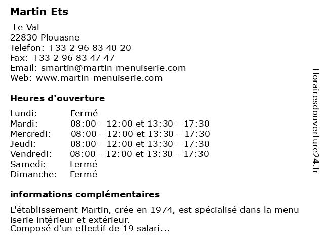 Martin Ets à Plouasne: adresse et heures d'ouverture