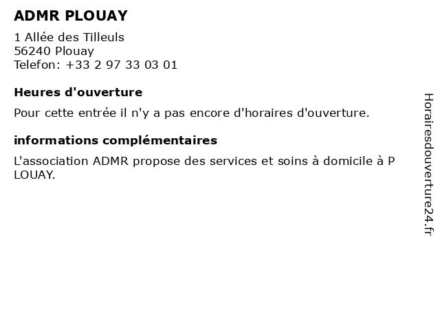 ADMR PLOUAY à Plouay: adresse et heures d'ouverture
