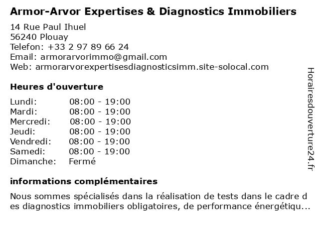 Armor-Arvor Expertises & Diagnostics Immobiliers à Plouay: adresse et heures d'ouverture
