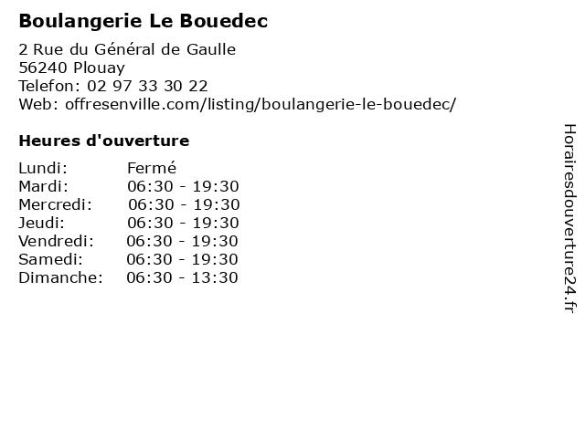 Boulangerie Le Bouedec à Plouay: adresse et heures d'ouverture