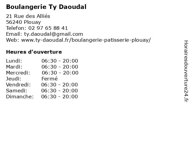 Boulangerie Ty Daoudal à Plouay: adresse et heures d'ouverture