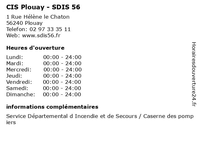 CIS Plouay - SDIS 56 à Plouay: adresse et heures d'ouverture