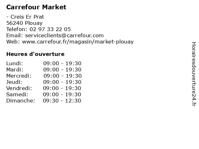 Carrefour Market à Plouay: adresse et heures d'ouverture