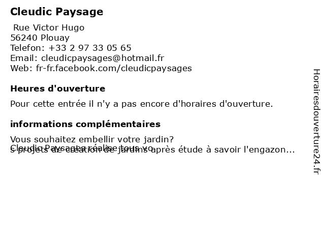Cleudic Paysage à Plouay: adresse et heures d'ouverture