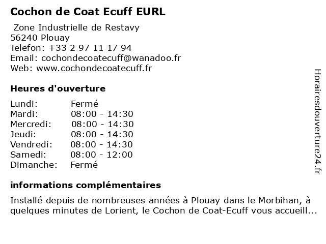 Cochon de Coat-Ecuff à Plouay: adresse et heures d'ouverture