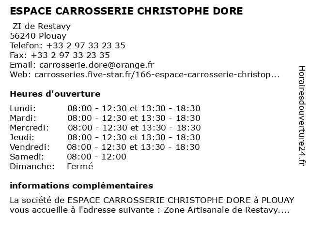 ESPACE CARROSSERIE CHRISTOPHE DORE à Plouay: adresse et heures d'ouverture