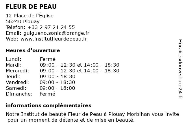 FLEUR DE PEAU à Plouay: adresse et heures d'ouverture